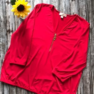 Michael Kors red blouse with gold zipper